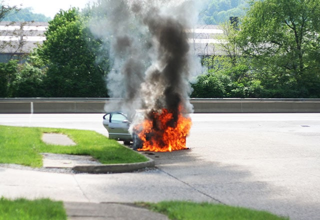 Car burning on 6th street in Ambridge.