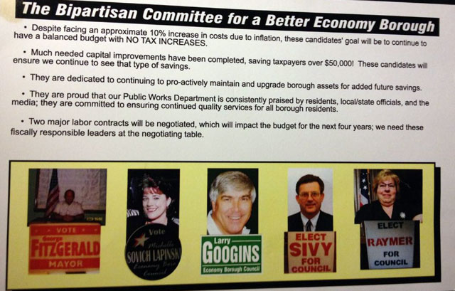 2009 Campaign mailer from the Bipartisan Committee For A Better Economy Borough