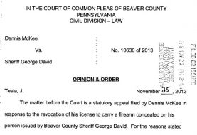 Judge Tesla's Full 33 Page Ruling On McKee v Sheriff David