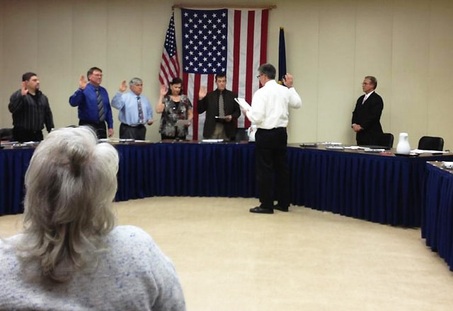 Economy Borough Council Members being sworn into office / submitted photo