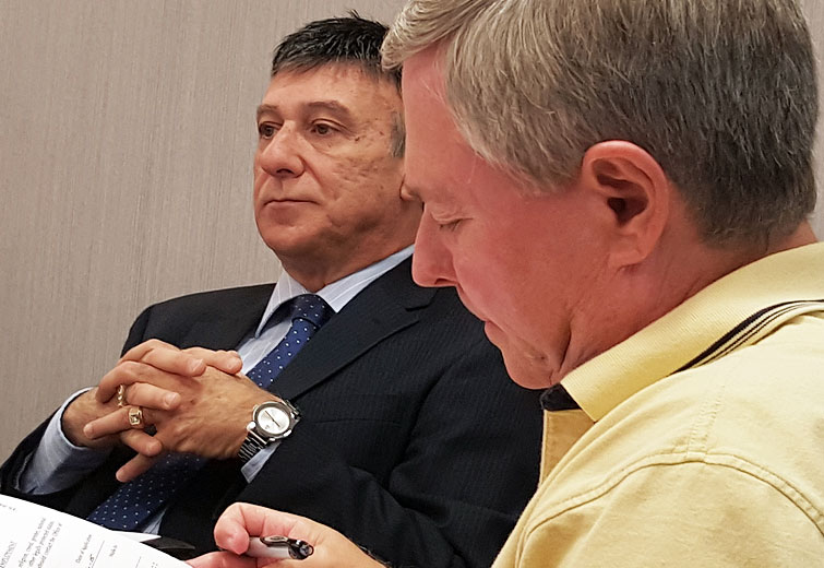 Former Financial Administrator Vince LaValle (left) with Commissioner Tony Amadio (right) / photo by John Paul