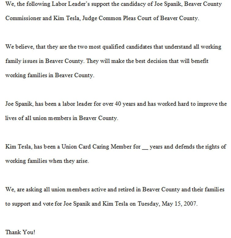 Uncompleted letter allegedly found on a county computer used by Commissioner Joe Spanik's secretary.